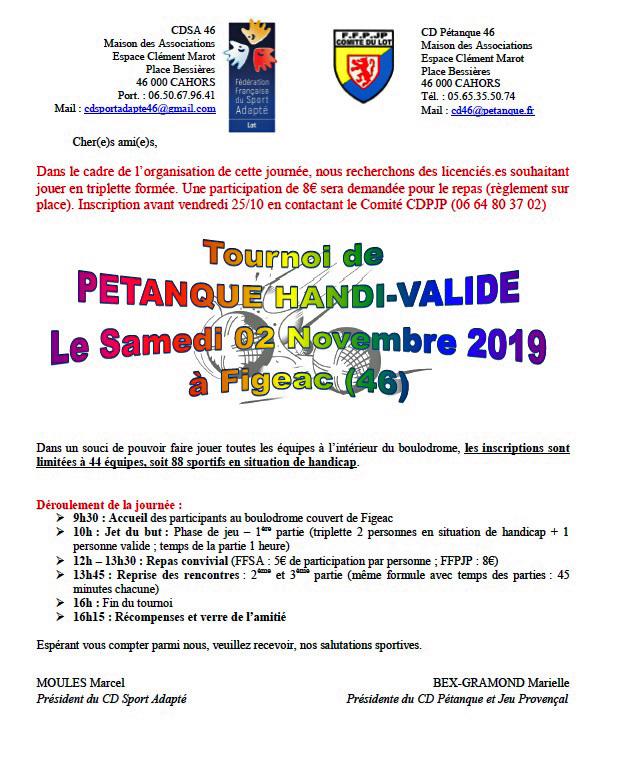 CD PETANQUE 46   Handicap & Pétanque
